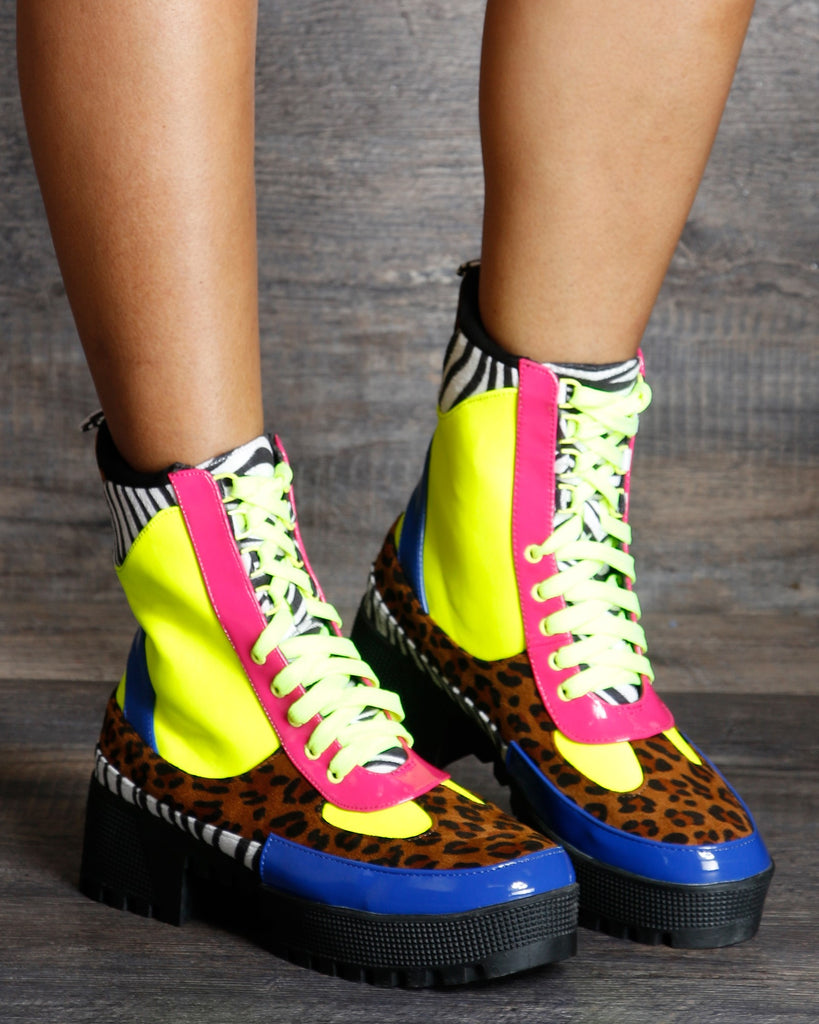 Cape Robbin Ellie Color Blocks Lug Combat Boot - Multi - ShopVimVixen.com