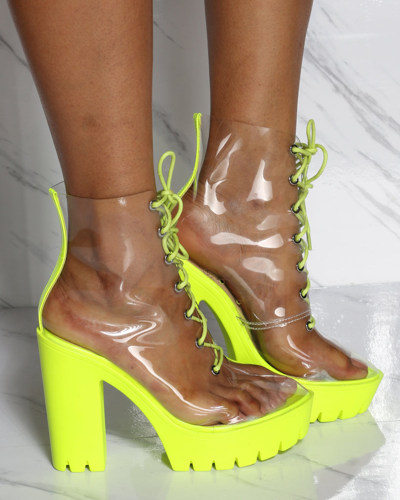 VIM VIXEN Tiffany Clear Lacy Up Chunky Heel Bootie - Neon Yellow - ShopVimVixen.com