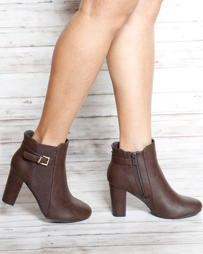 Naz Side Elastic Gold Buckle Heel Booties - Brown