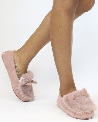 ERIN Moccasins With Fur Ears Flats (Available in 2 Colors)