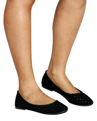 Lovely Laser Cut Ballerina Flats - Black