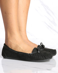 Sara Fur Moccasins Shoes - Black
