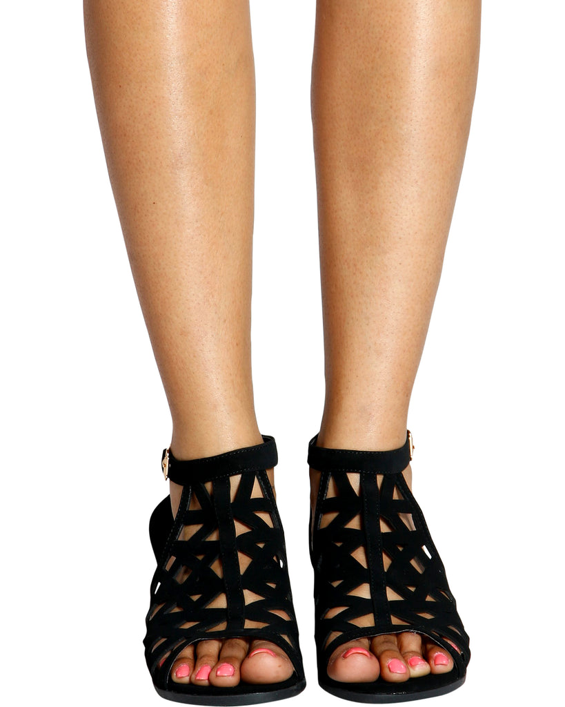 VIM VIXEN Starlight Perforated Stacked Heel Sandals  - Black - ShopVimVixen.com