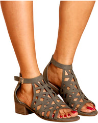 Starlight Perforated Stacked Heel Sandals