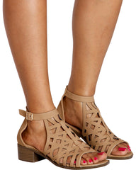Starlight Perforated Stacked Heel Sandals  - Tan