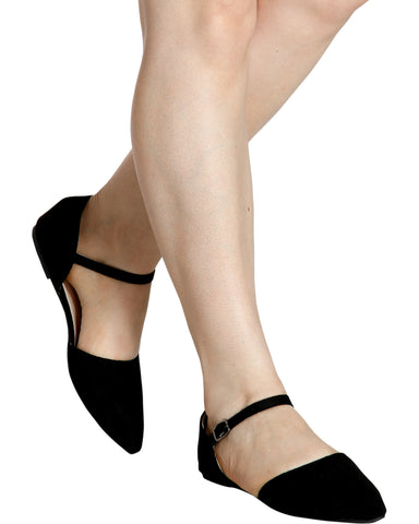 LANA Pointy Ankle Strap Flats (Available in 2 Colors)