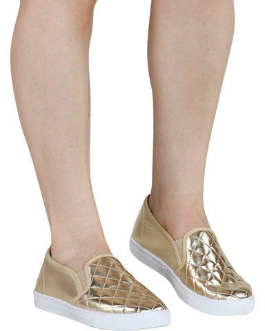 Cheryl Quilted Slip On Shoe - Gold