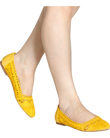 ZEON Crochet Flats - Yellow
