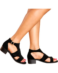 VIM VIXEN Sherry Side Buckle Low Chunky Heel - Black - ShopVimVixen.com