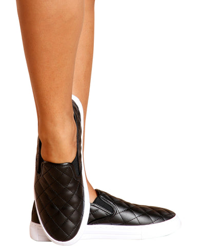 Reba Quilted Twin Gore Slip On Shoe - Black