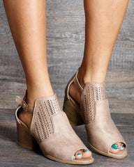 VIM VIXEN Cora Perforated Block Heel Sandals - Taupe - ShopVimVixen.com