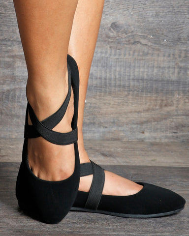Savita Almond Toe Criss Cross Ballerina