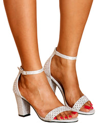 Maria One Band Chunky Heel - Silver