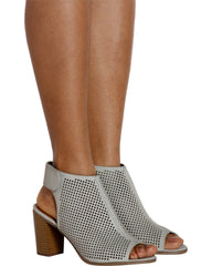 Lavish Laser Cut Chunky Heel - Light Grey