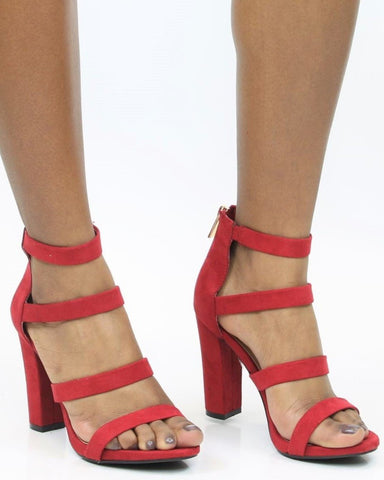 Red Wine Chunky Heel - Red