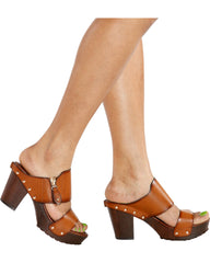 Vim Vixen Brittney Slip On Wooden Heel - Tan - ShopVimVixen.com