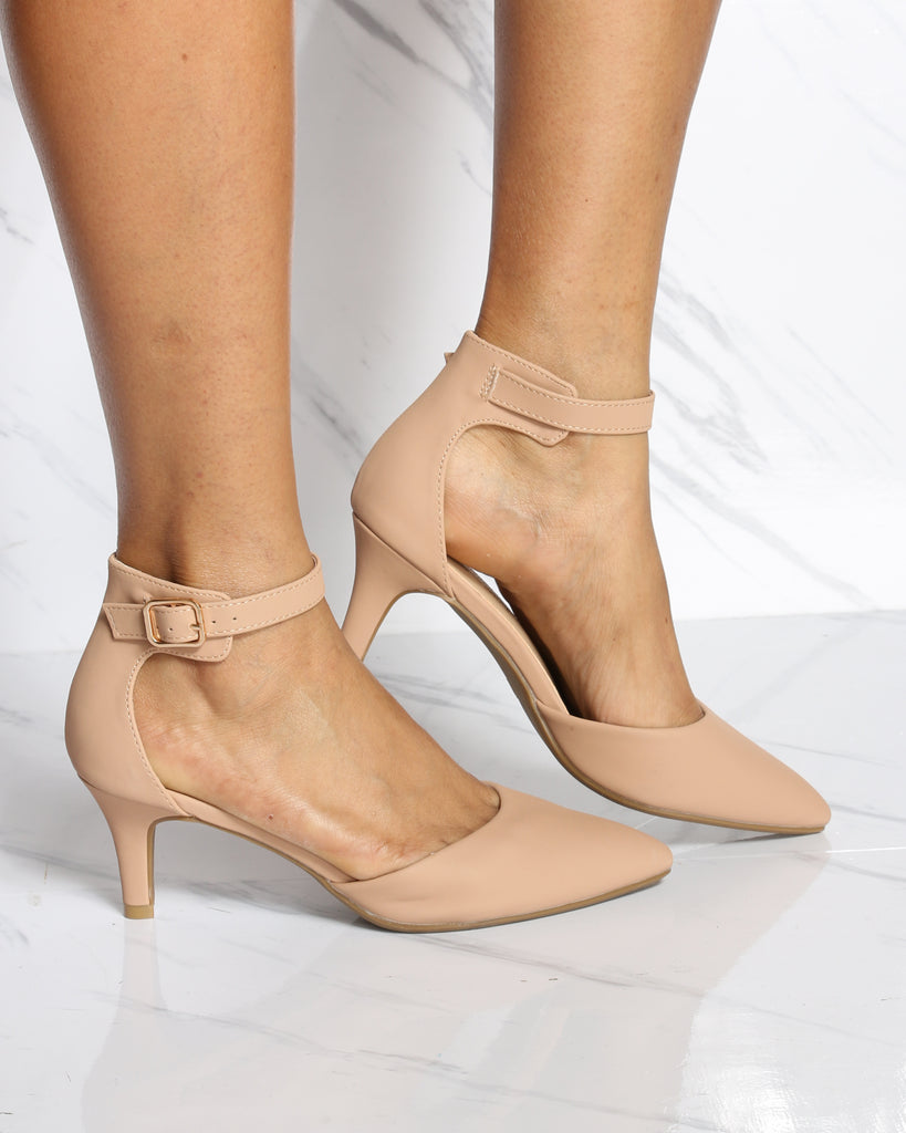 VIM VIXEN Julia Pointy Toe Low Heel - Beige - ShopVimVixen.com