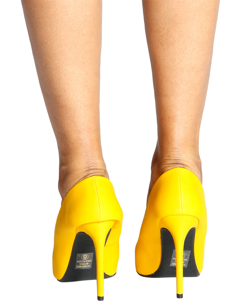 Cindy Pointy Pumps - Yellow