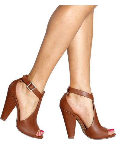 SPEAK UP Chunky Heel - Cognac