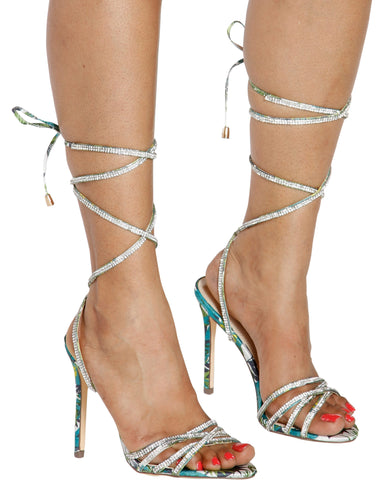 FLORA Tie Up Rhinestone Heel - Multi