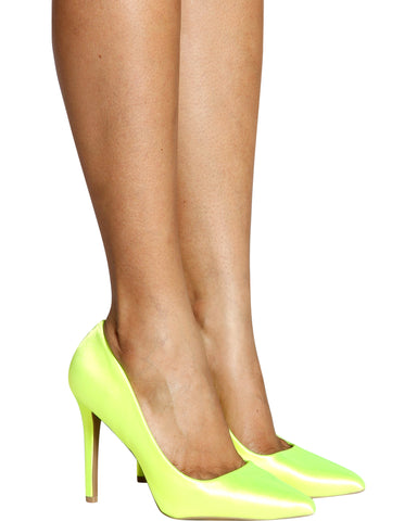 So Bright Satin Pumps - Neon Yellow