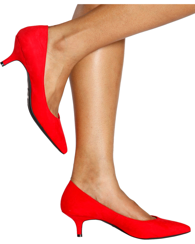 Bella Pointy Pump Kitten Heel - Red