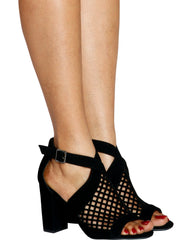 BEEHIVE Laser Cut Chunky Heel (Available in 2 Colors)