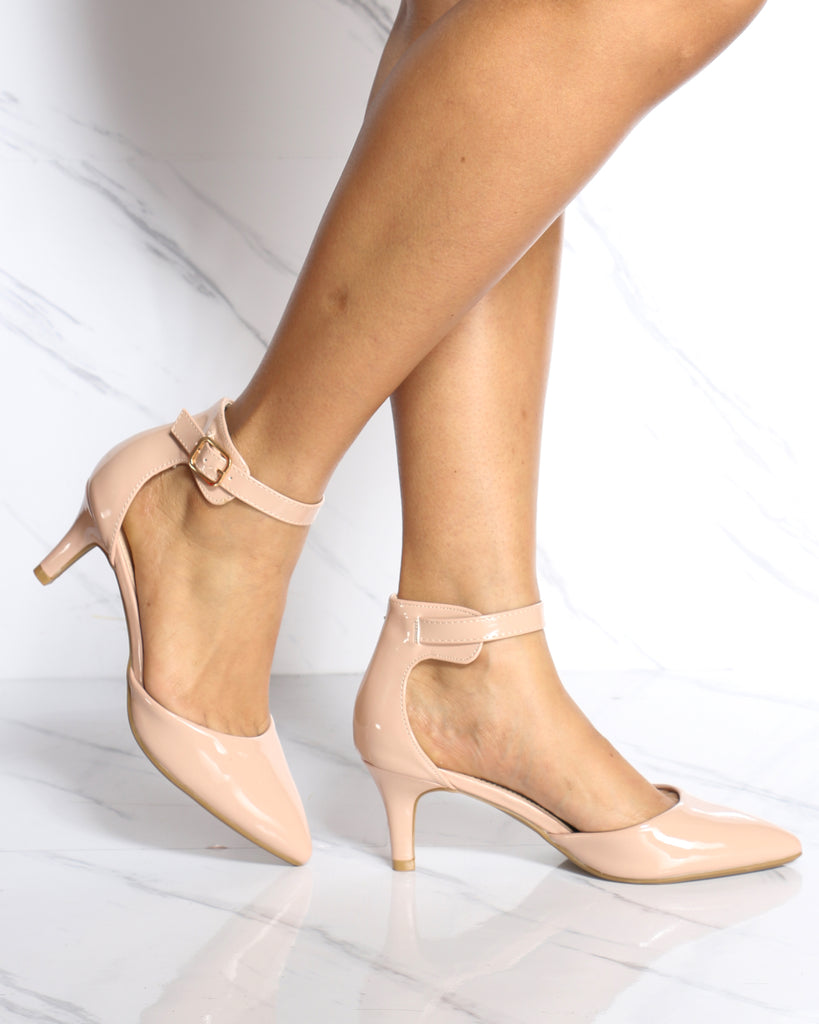 Julia Pointy Toe Low Heel - Nude
