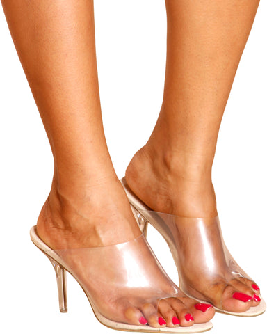Try Again Slip On Clear Heel - Nude