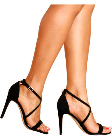 Brooke Criss Cross Stiletto Heel - Black