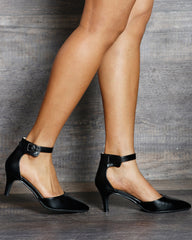 VIM VIXEN Tiana Low Pointy Heel Sandals - Black - ShopVimVixen.com