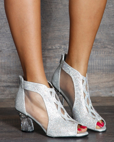 Allison Mesh Rhinestone Transparent Low Heel Sandals