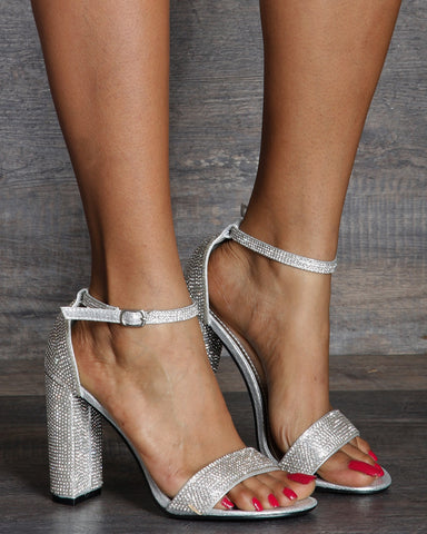 Dolly Chunky Heel Rhinestone Ankle Strap Sandals