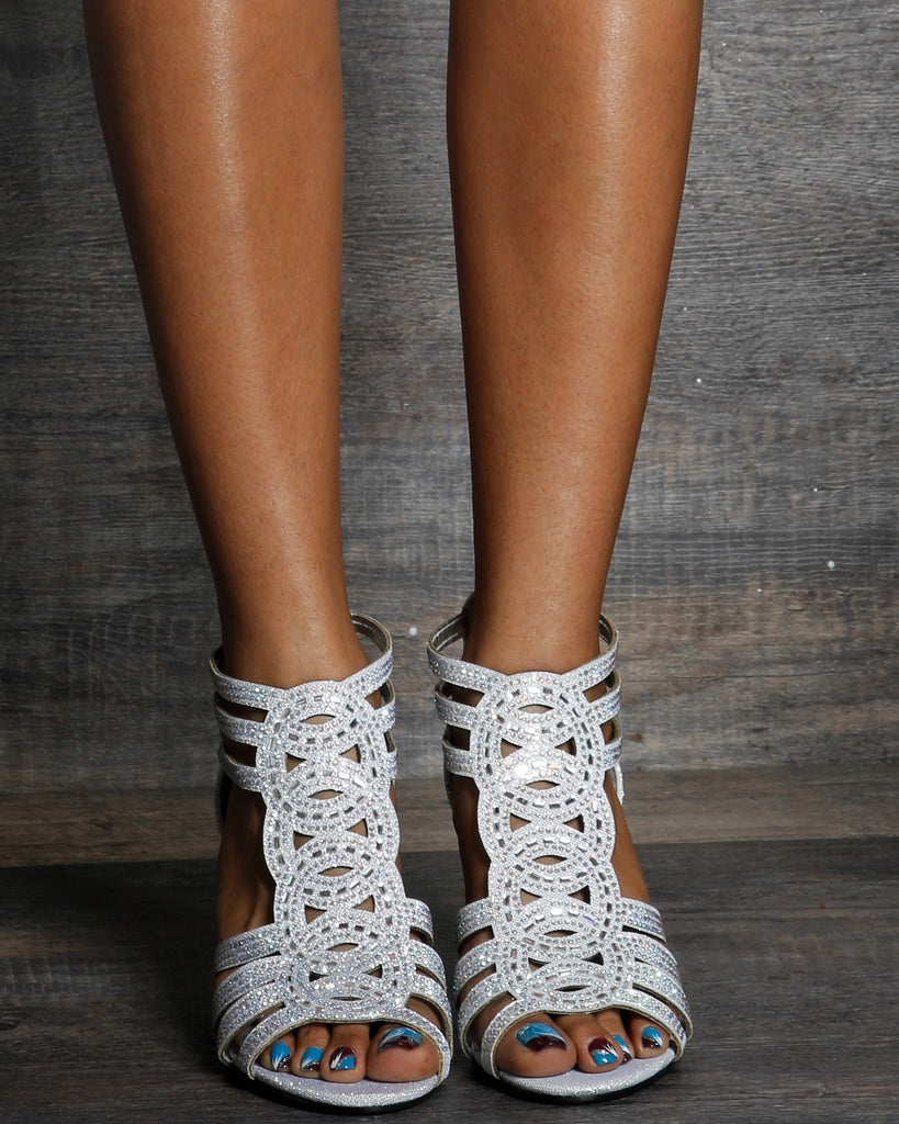 Ivy Zip Up Rhinestone Heels