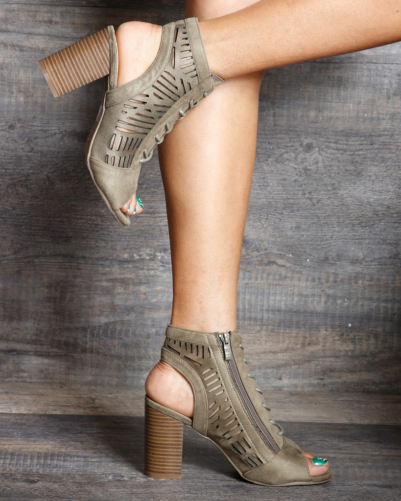 Arya Open Back Lace Up Side Zipper Laser Cut Chunky Heel