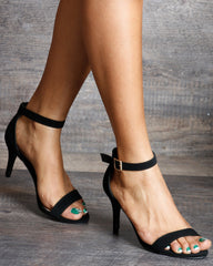 VIM VIXEN Makayla One Band Ankle Strap Low Heels - Black - ShopVimVixen.com