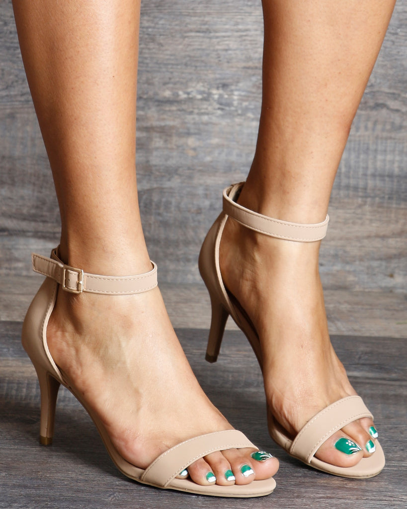 VIM VIXEN Makayla One Band Ankle Strap Low Heel - Tan - ShopVimVixen.com