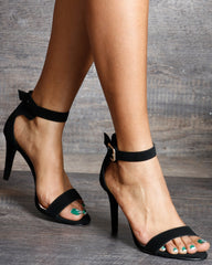 VIM VIXEN Mckenna One Band Ankle Strap High Heels - Black - ShopVimVixen.com