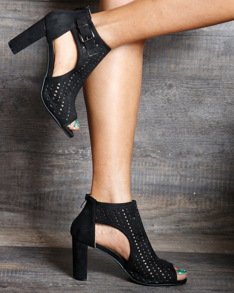 VIM VIXEN Lexi Perforated Back Zipper Chunky Heels - Black - ShopVimVixen.com