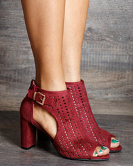 Lexi Perforated Back Zipper Chunky Heels