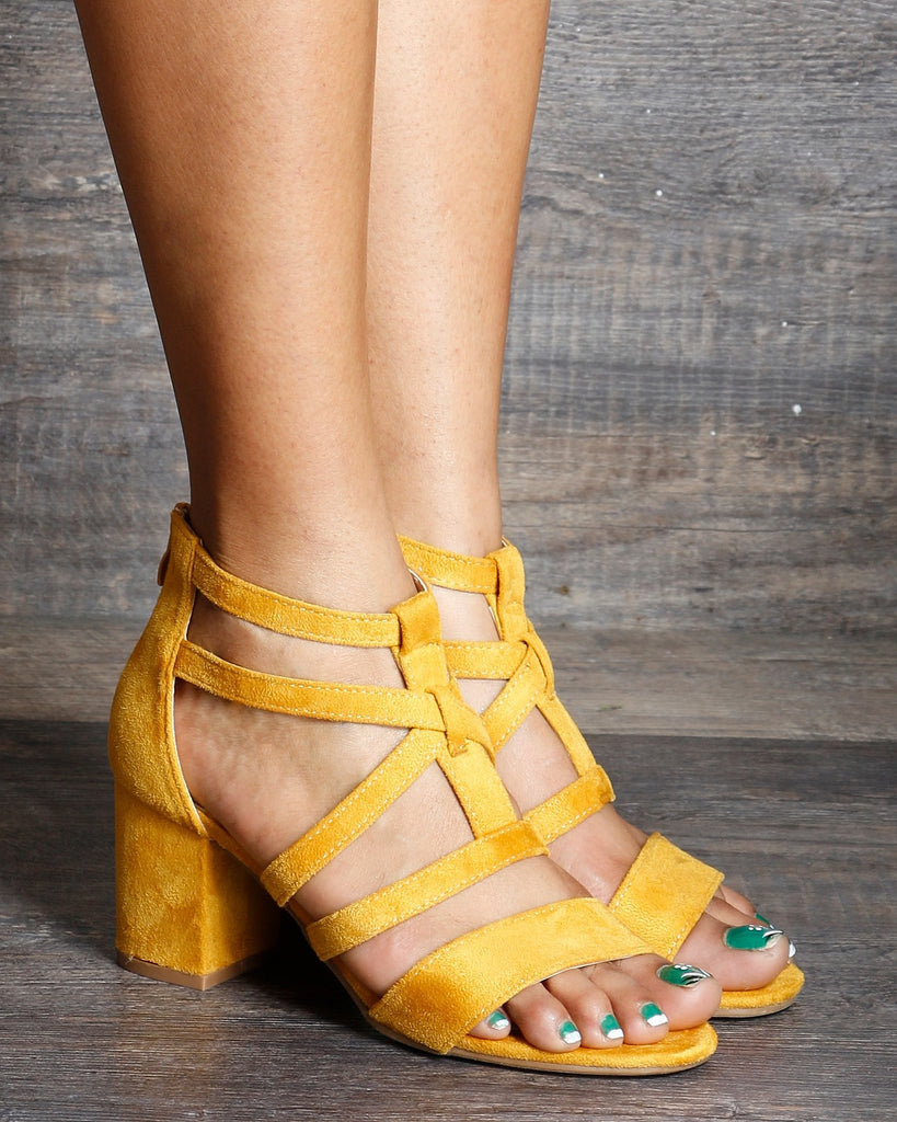 Kira Back Zipper Low Chunky Heels