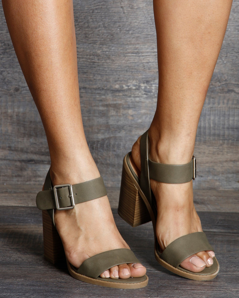 VIM VIXEN Sandy Side Silver Buckle One Band Chunky Heel - Olive - ShopVimVixen.com
