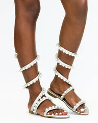 EMILY Pearls Gladiator Sandal (Available in 3 Colors)