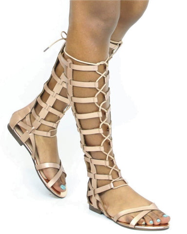 Storm Lace Up Gladiator Sandal - Rose Gold