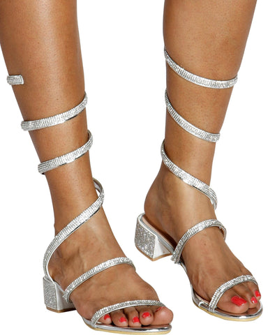 MAXINE Spiral Wrap Rhinestone Sandal (Available in 4 Colors)