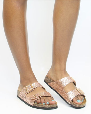 GLITTER Two Sandal - Rose Gold