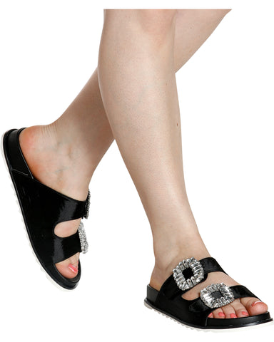 THELMA Squared Rhinestone Buckle Slides (Available in 2 Colors)
