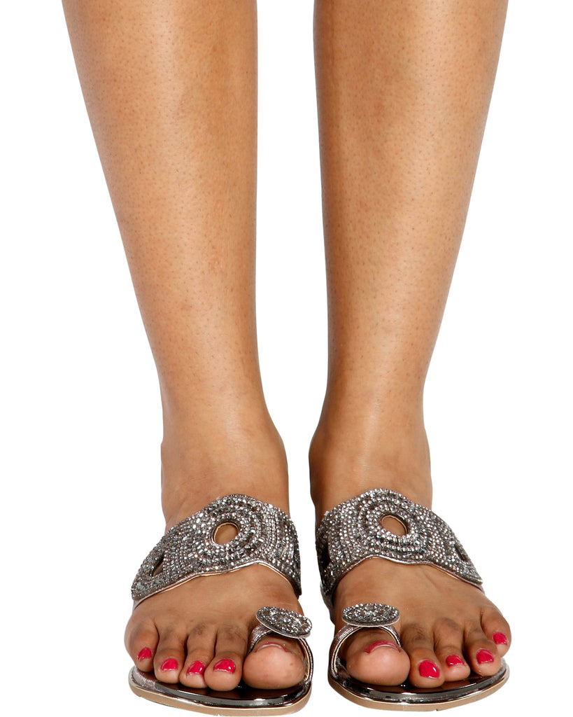 MARGE Rhinestone Toe Ring Slides (Available in 3 Colors)
