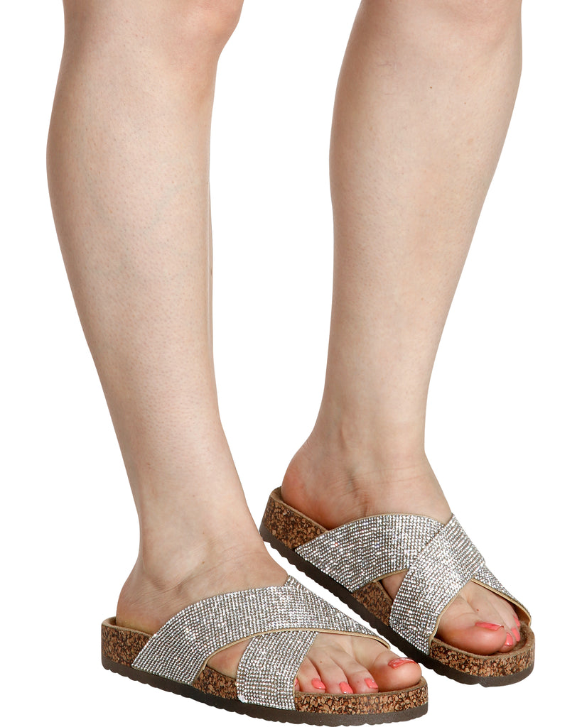 PAOLA Rhinestone Cork Sandal (Available in 2 Colors)