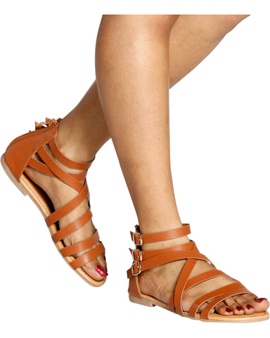CENDY 3 Buckle Gladiator Sandal (Available in 3 Colors)
